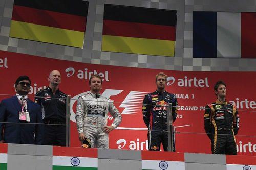Podio final del Gran Premio de India 2013