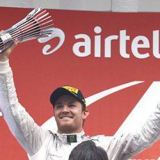 Nico Rosberg llegó al podio en la India