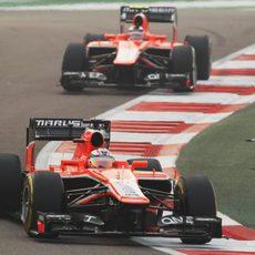 Jules Bianchi y Max Chilton en el GP de India 2013