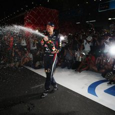 Chorro de champán de Sebastian Vettel