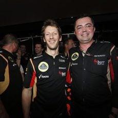 Romain Grosjean y Eric Boullier en la India