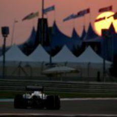 Valtteri Bottas a toda velocidad con los neumáticos blandos