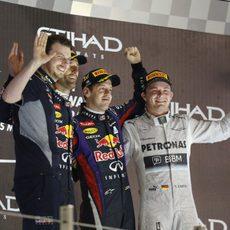 Podio de Abu Dabi con Vettel, Webber y Rosberg