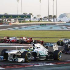 Nico Rosberg, tras los primeros metros del GP de Abu Dabi
