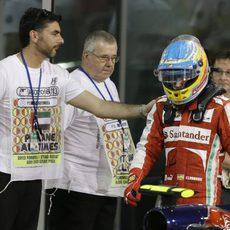 Fernando Alonso acabó con dolor de espalda