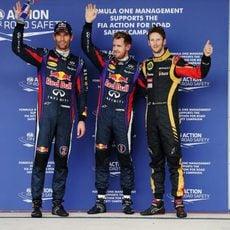 Sebastian Vettel, Mark Webber y Romain Grosjean en Austin