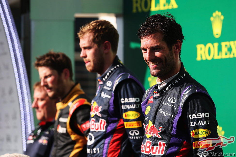 Mark Webber, contento en el podio de Austin