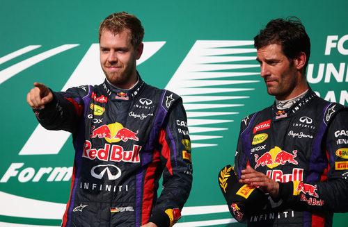 Mark Webber y Sebastian Vettel en el podio de Austin