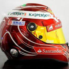 Vista lateral del casco especial de Felipe Massa