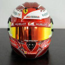 Vista frontal del casco especial de Felipe Massa