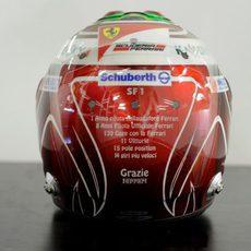 Vista trasera del casco especial de Felipe Massa