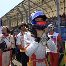 Grosjean en la parrilla de salida