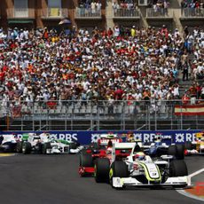 Barrichello en la primera curva