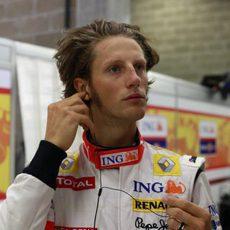 Grosjean en boxes