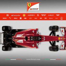 Vista superior del Ferrari F14-T