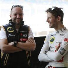 Romain Grosjean charla con Gerard López