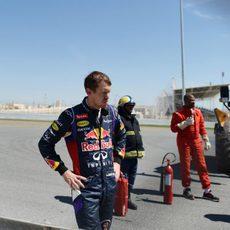 Expresión de Sebastian Vettel tras el trompo con el RB10.