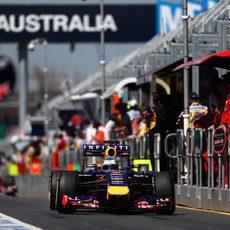 Sebastian Vettel en el pitlane