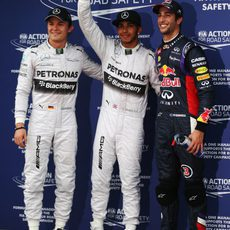 Lewis Hamilton, Nico Rosberg y Daniel Ricciardo tras la clasificación
