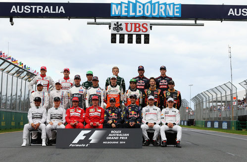 Foto oficial de los 22 pilotos de la temporada 2014 de F1