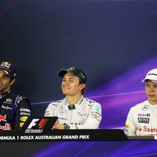 Ricciardo, Rosberg y Magnussen en rueda de prensa