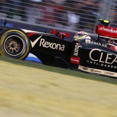 Pastor Maldonado con el neumático blando en su Lotus E22