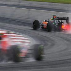 El VJM07 de Pérez en plena curva