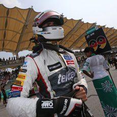 Adrian Sutil, en la parrilla de salida del GP de Malasia