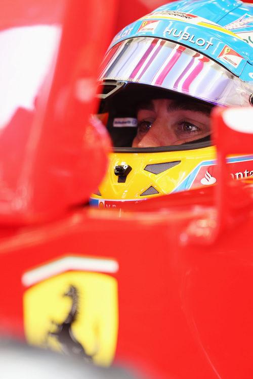 Fernando Alonso observa los tiempos