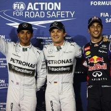 Nico Rosberg, Lewis Hamilton y Daniel Ricciardo en Baréin
