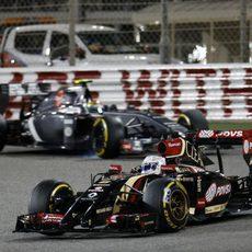 Romain Grosjean en la curva dedicada a Michael Schumacher