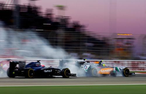 Pasada de frenada de Sergio Pérez al llegar a una curva