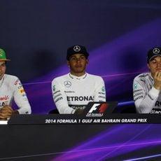 Rueda de prensa con Hamilton, Rosberg y Pérez