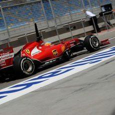 Pruebas en el F14-T de Fernando Alonso