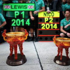 Los trofeos de Mercedes en el GP de China