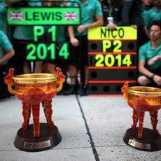 Los trofeos de Mercedes en el GP de China
