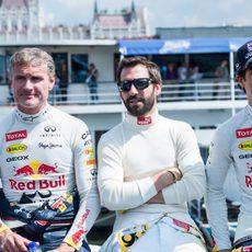 David Coulthard, Timo Glock y Daniel Ricciardo en Budapest