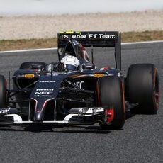 Giedo van der Garde rodando en el Circuit de Catalunya