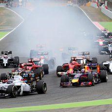 Primeros metros del GP de España 2014