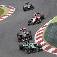 Kamui Kobayashi defiende su posición contra Maldonado