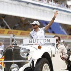 Jenson Button en el driver's parade