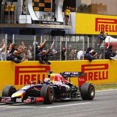 Celebración de Red Bull por el tercer puesto de Daniel Ricciardo