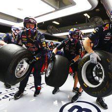 Los mecánicos de Red Bull corren para realizar una parada