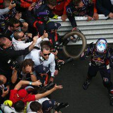 Celebración de Daniel Ricciardo al acabar tercero