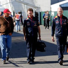Niki Lauda, Christian Horner y Adrian Newey en Montreal