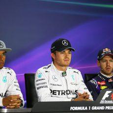 Rosberg, Hamilton y Vettel en la rueda de prensa