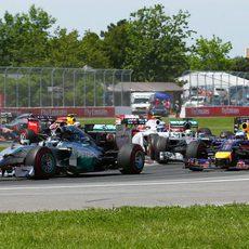 Primera curva del GP de Canadá 2014