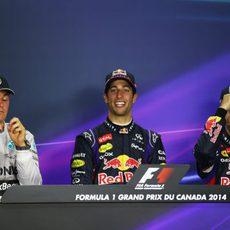 Ricciardo, Rosberg y Vettel en rueda de prensa