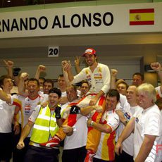 El equipo Renault de celebración