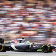 Esteban Gutiérrez durante la carrera de Hockenheim